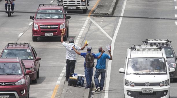 Un grupo de trabajadores informales comercializa agua y bebidas energizantes en el centro de Guayaquil. Foto: Enrique Pesantes / EL COMERCIO