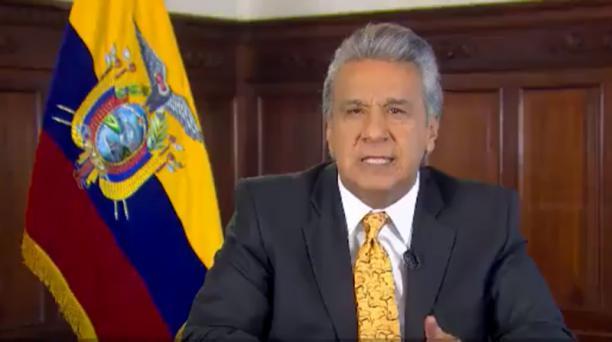 El presidente Lenín Moreno anunció la noche de este miércoles 20 de febrero del 2019 que Ecuador alcanza un acuerdo técnico con el FMI. Foto: Captura