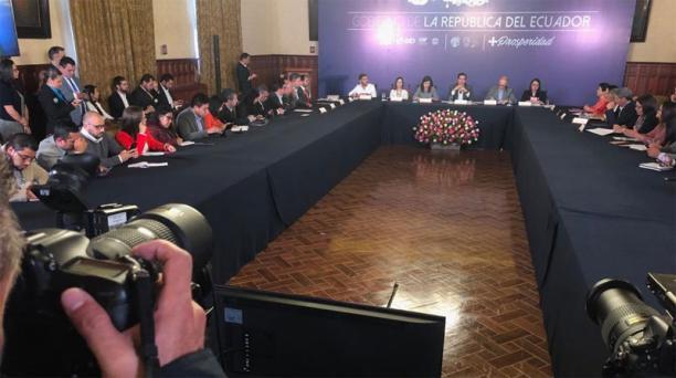 EL ministro Richard Mantínez se refirió al acuerdo en el FMI, este jueves 21 de febrero del 2019. Foto: Galo Paguay / EL COMERCIO
