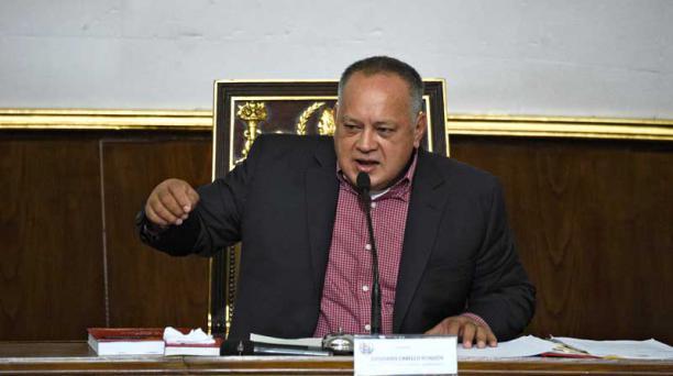 El presidente de la Asamblea Constituyente de Venezuela, Diosdado Cabello, anunció que el Pleno legislativo autorizó levantar la inmunidad a Juan Guaidó y enjuiciarlo penalmente. Foto: AFP