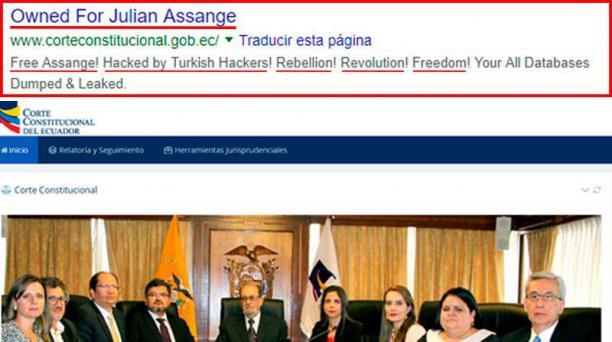El portal web de la Corte Cosntitucional del Ecuador fue hackeado pasadas las 12:00 de este viernes 19 de abril del 2019. Foto: Captura de pantalla