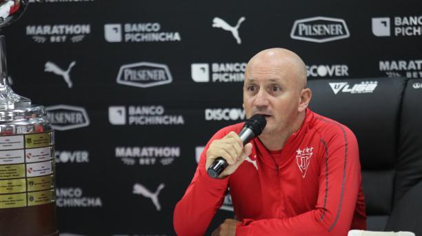Liga de Quito recibirá al equipo 'cebollita', a las 19:15, en el estadio Rodrigo Paz Delgado, por la fecha 18 del campeonato nacional LigaPro este 18 de julio del 2019. En la foto del 2 de julio del 2019, el entrenador Pablo Repetto, director Técnico de L