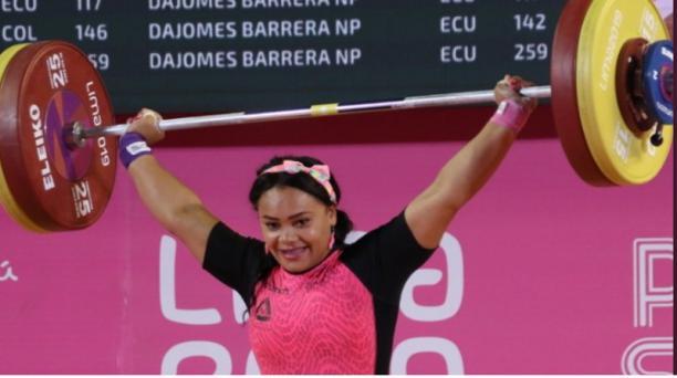 Neisi Dajomes durante los Juegos Panamericanos el 29 de julio del 2019. Foto: Twitter @ECUADORolimpico ·