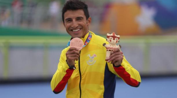 Jorge Bolaños alcanzó la medalla de bronce en los Juegos Panamericanos Lima 2019. Foto: Twitter @ECUADORolimpico
