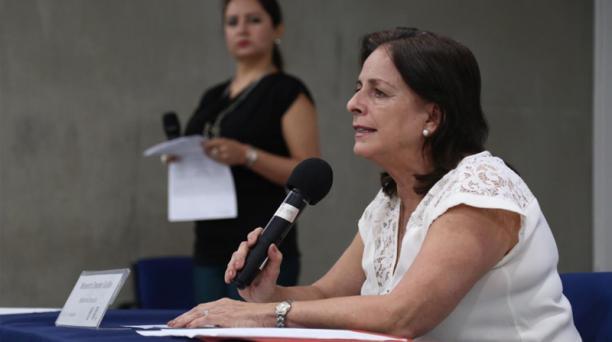 La ministra de Educación, Monserrat Creamer, habló este 28 de agosto del 2019 sobre los valores que se cancelarán por pensiones en planteles particulares durante el año lectivo 2019-2020.