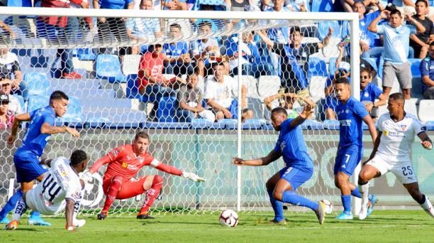 Partido de la fecha 25 del campeonato nacional LigaPro entre Emelec y Liga de Quito, jugado el domingo 15 de septiembre del 2019 en el estadio George Capwell. Foto: API para Grupo EL COMERCIO