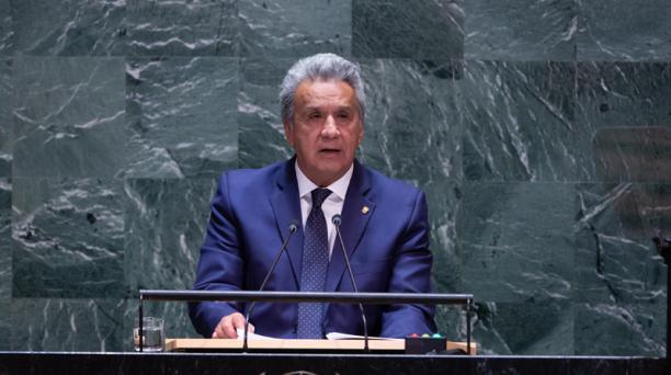 Lenin Moreno en el debate general de la 74a sesión de la Asamblea General de las Naciones Unidas en Nueva York, EE. UU., el 25 de septiembre del 2019. Foto: EFE