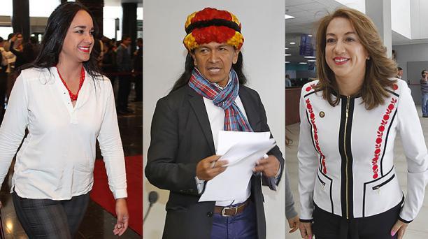 Los asambleístas correístas Gabriela Rivadeneira (izquierda), Carlos Viteri Gualinga y Soledad Buendía han iniciado el proceso de trámite de solicitud de asilo en la Embajada de México en Ecuador. Fotos: Archivo / EL COMERCIO
