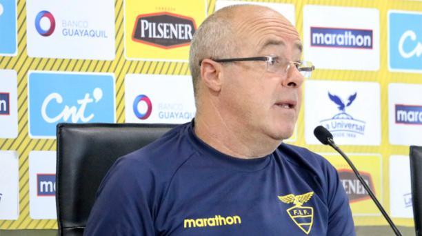 Jorge Célico, entrenador de la selección ecuatoriana sub 23, en una rueda de prensa ofrecida el 16 de diciembre del 2019. Foto: Twitter Federación Ecuatoriana de Fútbol