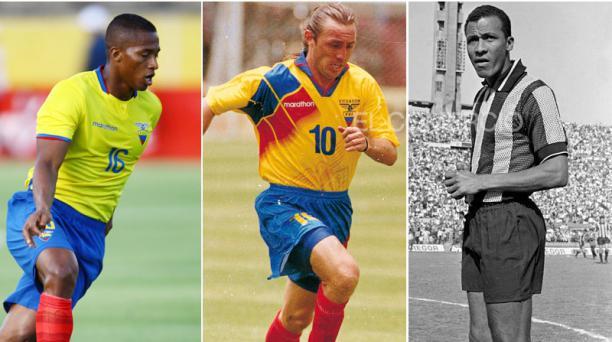 Antonio Valencia, Álex Aguinaga y Alberto Spencer, tres de los mejores jugadores de fútbol en la historia de Ecuador. Foto: EL COMERCIO