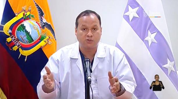 Ernesto Carrasco, viceministro de Salud, en rueda de prensa la mañana de este jueves 2 de abril de 2020. Foto: Captura