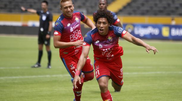 Luis Congo celebra el primer gol de El Nacional en la temporada 2020. Fue ante Liga de Portoviejo, en el estadio Olímpico Atahualpa. Foto: Archivo / EL COMERCIO