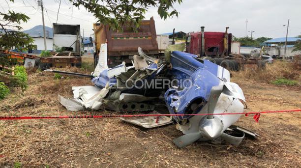 Este 9 de julio del 2020 arribaron a Guayaquil los restos de la avioneta que Daniel Salcedo utilizó para intentar huir a Perú. Foto: Enrique Pesantes/ EL COMERCIO.