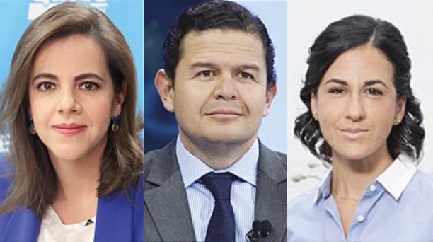 La terna para la cuarta Vicepresidencia en el gobierno de Lenín Moreno está encabezada por la ministra de Gobierno, María Paula Romo (izq), el secretario de Gabinete, Juan Sebastián Roldán, y Alejandra Muñoz, ex directora del Servicio Nacional de Aduanas.