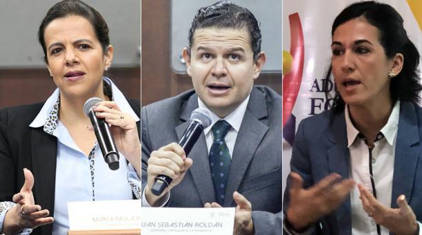 La terna la encabeza la ministra de Gobierno, María Paula Romo, seguida por el secretario de Gabinete, Juan Sebastián Roldán, y María Alejandra Muñoz. Foto:
