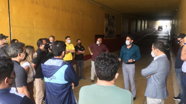 Dirigentes de Barcelona, Guayaquil City y LigaPro se reunieron este lunes 20 de julio para organizar el partido simulacro. Foto: Tomado del Twitter de Fanboleros