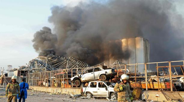 Más de 70 personas murieron en Beirut, tras dos violentas explosiones registradas en el puerto de esa ciudad de Líbano. Foto: AFP