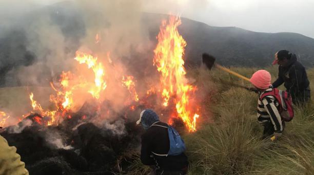 Gráficas del combate del incendio forestal en la zona de Piñán, al interior del Parque Nacional Cotacachi-Cayapas. El trabajo reinició a las 06:00 del 12 de octubre y finalizó a la 01:00 del 13 de octubre del 2020. Fotos: cortesía del Cuerpo de Bomberos d