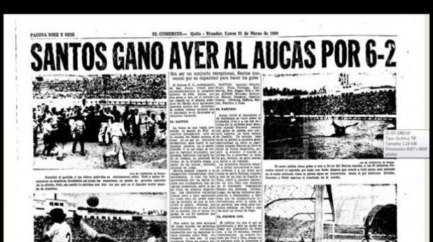Aucas vs Santos 1960. Portada EL COMERCIO