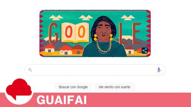 Google dedicó este 26 de octubre del 2020 su 'doodle' a la líder indígena ecuatoriana Dolores Cacuango. Foto: captura.