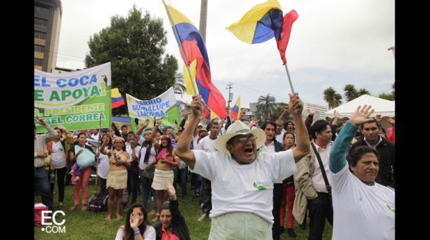 La concentración de la marcha del Colectivo Amazonía Vive fue en el parque El Arbolito, desde las 6:00 am. Foto: Galo Paguay/El Comercio