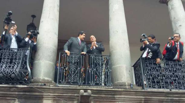 El mandatario venezolano, Nicolás Maduro, llegó antes que Juan Manuel Santos a su reunión en Quito. Foto: Eduardo Terán/ EL COMERCIO